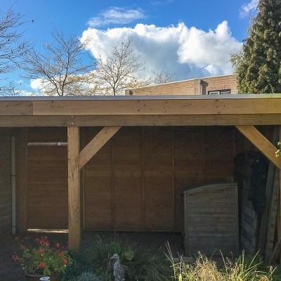 Douglas plat dak overkapping Leesten