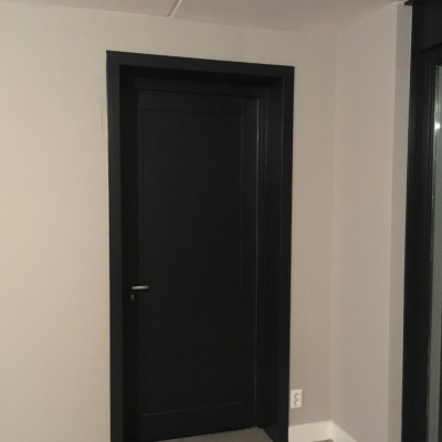 Zwarte Bradfort deur geplaatst in opening woonkamer garage in Barneveld