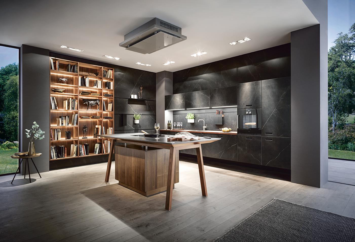 Marmer Zwart Keuken : Zwarte keuken met marmer aufour design keukens op maat